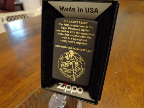 ZIPPO 5TH ANNIVERSARY ENGRAVED BLACK MATTE ZIPPO LIGHTER MINT IN BOX WINDY