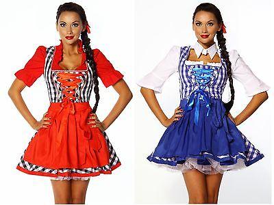 Sexy Dirndl Kostüm rot + blau 2tlg. Oktoberfest Wiesn Gr. S-2XL ohne - Dirndl Kostüm Oktoberfest