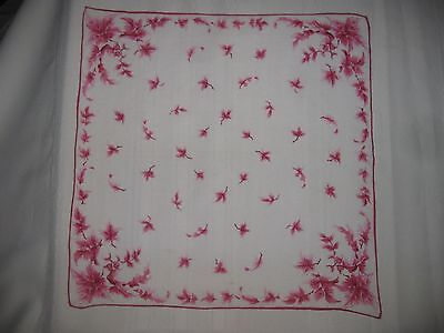 Vintage Handkerchief of RED LEAVES on White Background