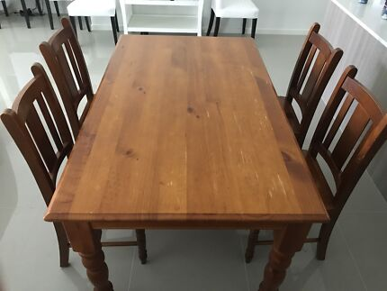Solid Timber Dining Table And Chairs