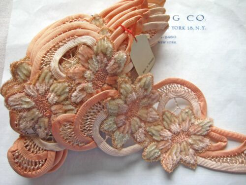 1 Vintage Antique Peach Silk Chenille Floral Applique Millinery Lampshade Pillow