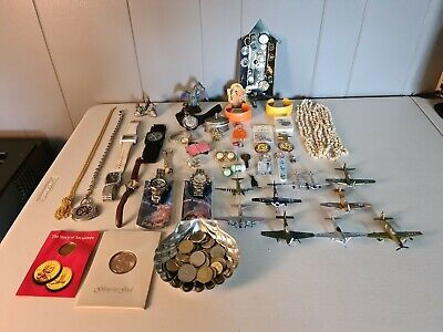 Vintage Estate Junk Drawer Lot Jewelry watches Coins Collectibles