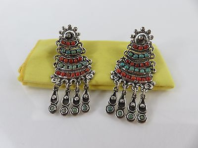 Vintage Matilde Poulat Matl Sterling Red Coral Turquoise Screw Back Earrings