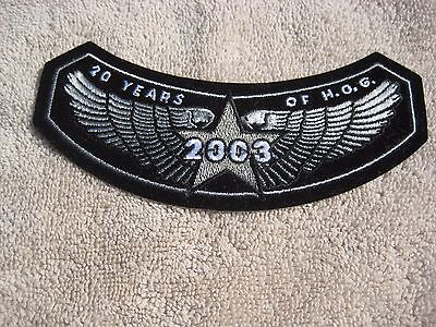 HARLEY OWNERS GROUP,  20 YEARS OF H.O.G. 2003  Cloth Emblem, NEW