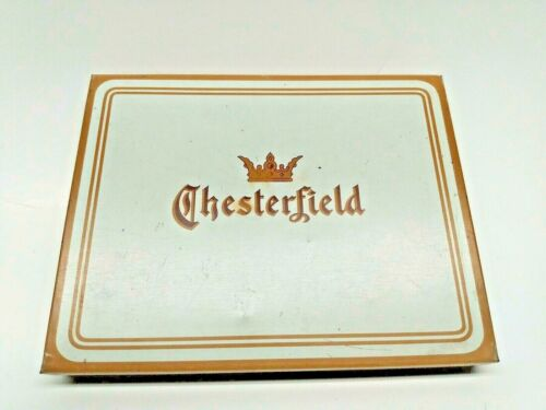 Vintage Chesterfield Cigarette Tin Burgundy and Gold Color Holds 50 Made in USA