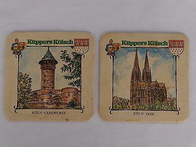 2 Beer Bierdeckel COASTERS ~*~ KUPPERS Kolsch ~*~ Koln, GERMANY Castle & Church