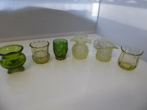 Lot of 6 Vintage EAPG Green Toothpick holders