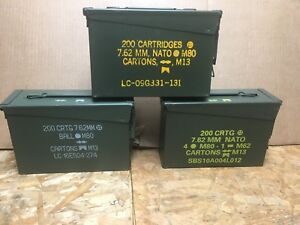 ONE   30 Cal Ammo Can Army Military M19A1 Metal Storage Box 7.62 MM Great  Cond