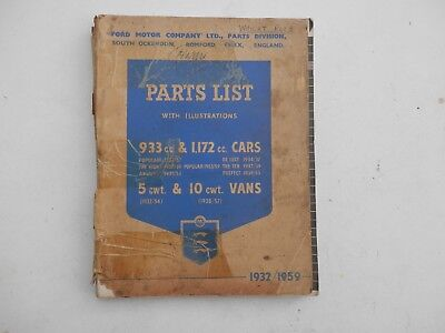 FORD 8 10 Eight Ten Popular Anglia Prefect Parts List 1932-59