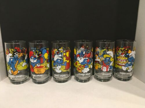 1983 Smurf Peyo Glasses Complete Set Of 6  Hardee's