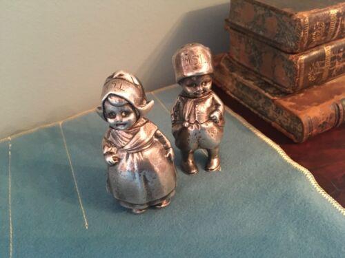 VINTAGE STERLING SILVER  DUTCH BOY & GIRL SALT & PEPPER SHAKERS SOLID 192 G
