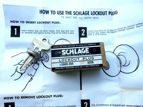 SCHLAGE lock LOCKOUT PLUG     LOCKSMITH TOOL  920A