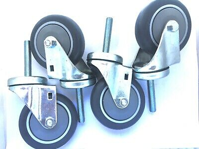 4 Pack Of 12-13 Threaded Stem With 4 By 1-14 Rubber Wheels Swivel Casters