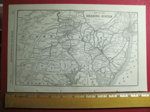 1918 READING RAILROAD SYSTEM MAP RDG RR HISTORY DEPOTS STATIONS