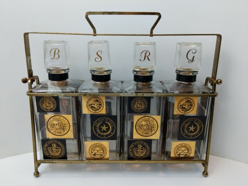 Mid Century Set of 4 State Seal Glass Decanter & Caddy Barware Chrysler Promo