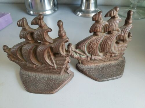 VINTAGE NAUTICAL BOOKENDS BRONZED CAST IRON GALLEON   SHIPS SMALL