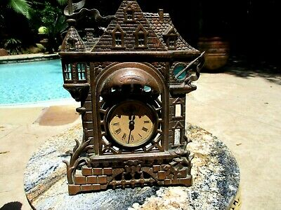 Antique Cast Iron Copper Platted Novelty Alarm Clock