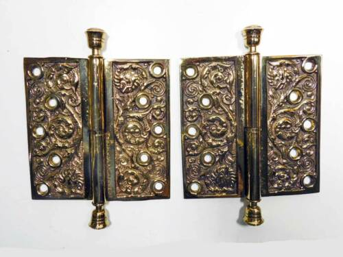 Antique Ornate Cast Bronze Lift-off Hinges, Columbian Reading Hardware LH
