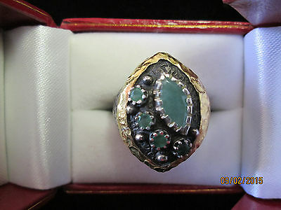 (Etruscan Style Emerald Ring with Gold Around Setting and Hammered Silver Shank)