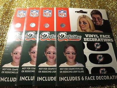 Miami Dolphins NFL Vinyl Eye Schwarz Gesicht Dekorationen Neu (4