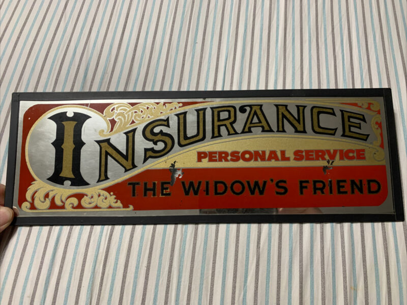 "Vintage Antique Original Reverse Painted Glass Insurance Trade Sign 16"" x 5.5"""