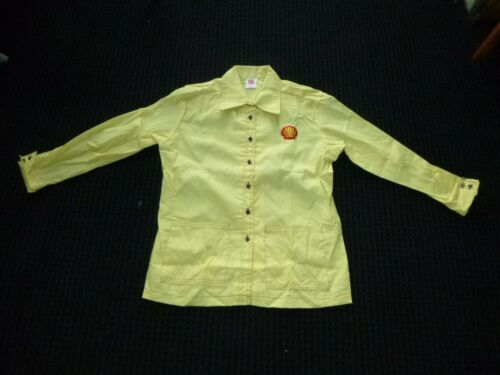NOS Vtg 60s 70s Shell Oil Yellow Uniform Shirt Tunic Size Large Never Worn