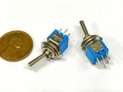2 Pack sub miniature toggle switch On/On 6 Pins SMTS-202 latching lock 5mm G26