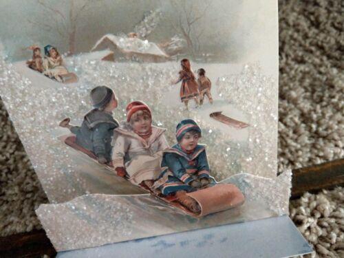 Vintage Victorian style Christmas Children sled glittered easel Christmas card