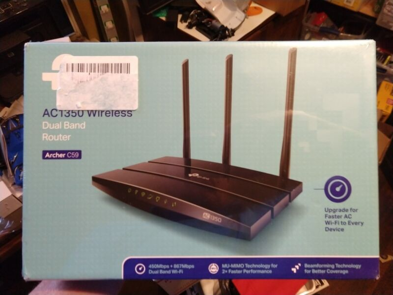 TP-LINK Wireless-AC1350 Dual-Band Wi-Fi Router Black ARCHER C59