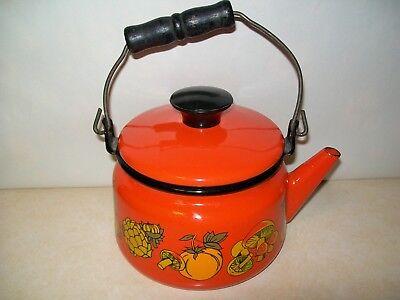 Vintage Orange Enamel Teapot Mushroom Graphics.Mid Century Modern.Retro.Nice.NR!