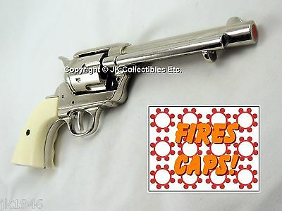 Replica M1873 FRONTIER NICKEL FINISH PISTOL Colt Peacemaker White Grooved Grips