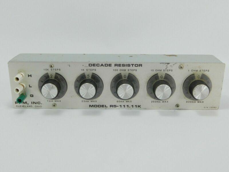 PPM Inc Decade Resistor Box R5-111.11K 1-10000 Ohm SN 19082