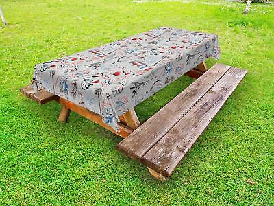 Paris Outdoor Picnic Tablecloth Ambesonne in 3 Sizes Washable Waterproof