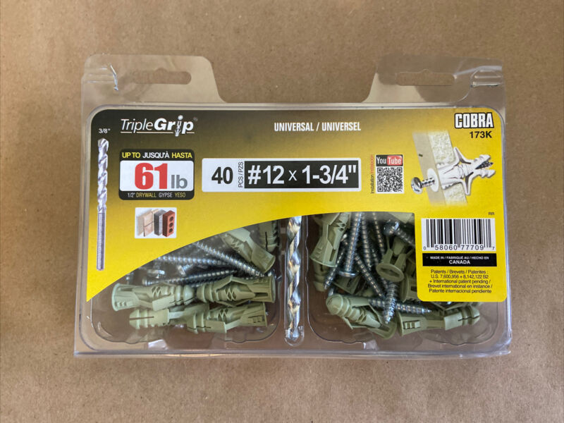 Triple Grip #12 Green Anchors with Screws (40-Pack)