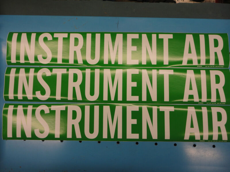 "3 Count, ""INSTRUMENT AIR"", 4"" x 24"" Decal Sticker, Vinyl Pipe Marker 7167-1HV"