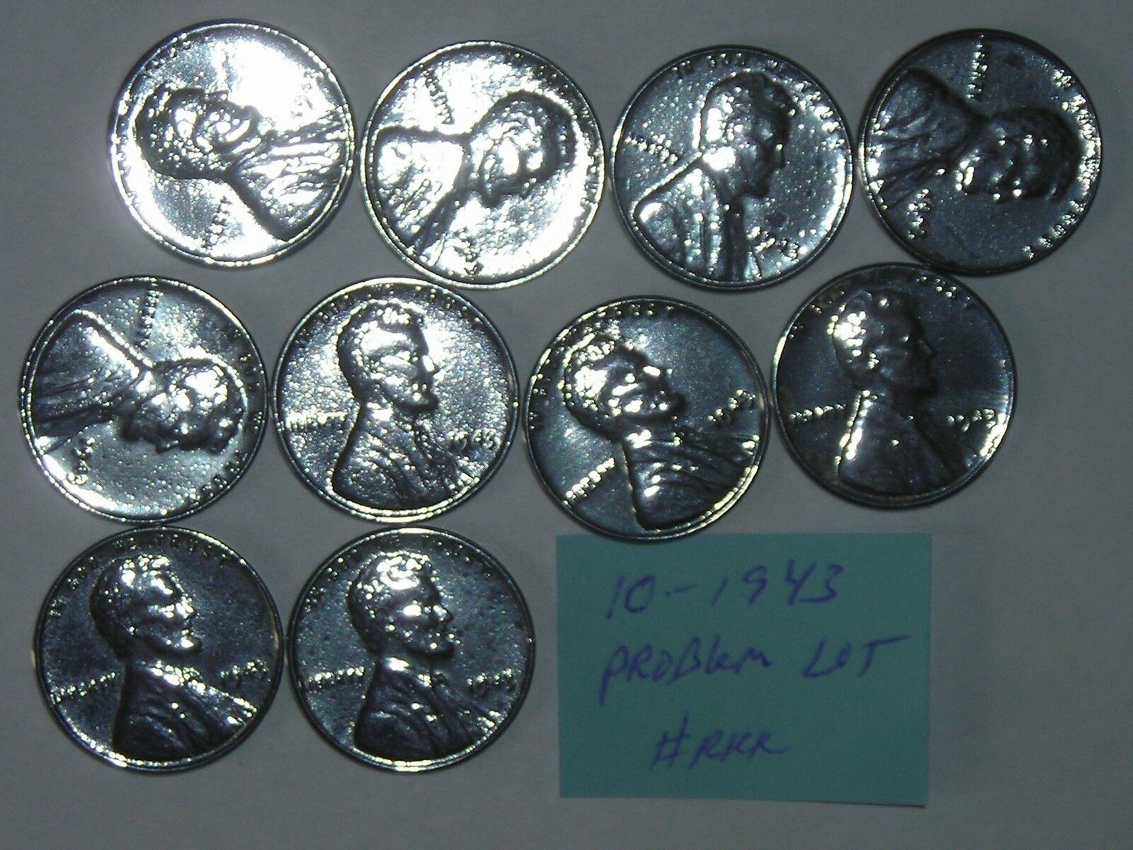 wheat penny 1943 STEEL LOT OF 10 WITH PROBLEMS 1943-P LINCOLN CENTS PARTIAL ROLL