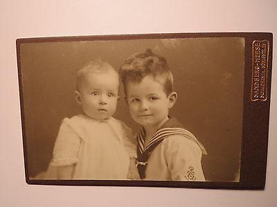 Schwerin i. M. - 1916 - 2 kleine Kinder - Baby & Junge in Matrosen-Outfit / CDV ()