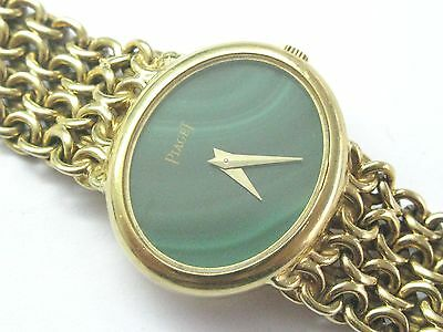 18Kt Women's Piaget Malachite Dial Yellow Gold Quartz Watch 58 Grams