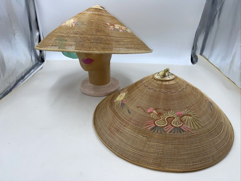 LOT of TWO: Vintage Asian Rice Hat Farmer Conical Hat  w/ Chin Straps