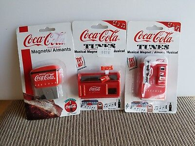 Coca Cola Tunes Magnets- 2 Soda Machines and a Magnet Soda Fountain 1997 NEW