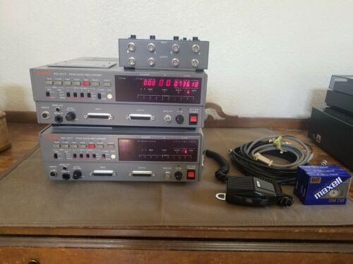 Lot of 2 Vintage TEAC RD-101T PCM Data Recorders w/ Extras