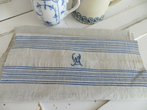 Unused Antique Large  Handwoven Linen Towel Blue Stripes 2.89 Yards Long german