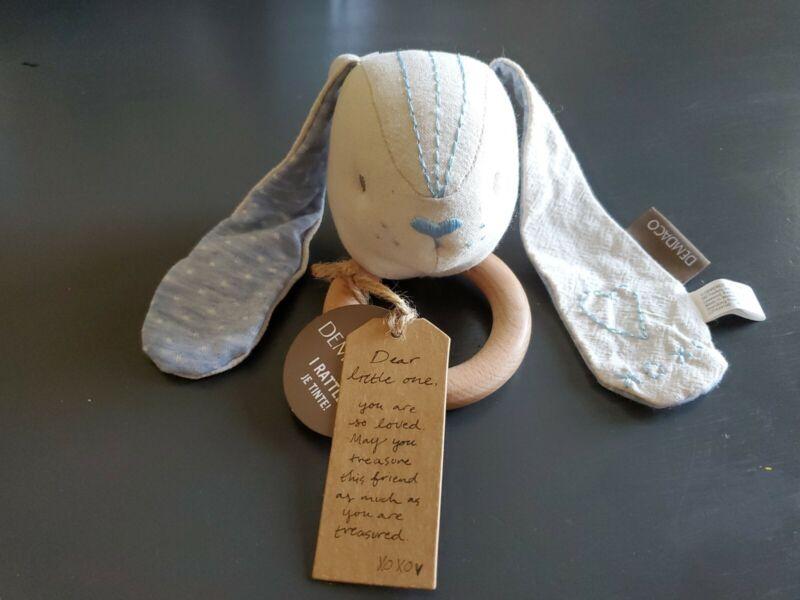 Demdaco New Nwt Plinen Rattle Blue Cream Bunny Rabbit Wood Teether