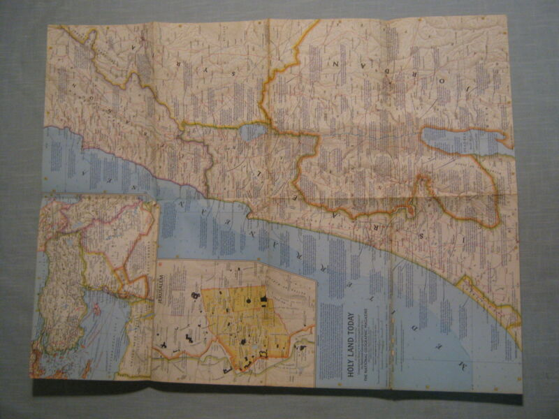 VINTAGE HOLY LAND TODAY MAP + JERUSALEM National Geographic December 1963 MINT