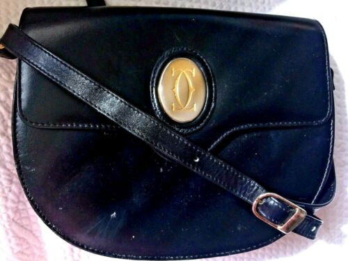 Old Vintage CARTIER CC Mono Logo France Black Leather Saddle Crossbody Handbag