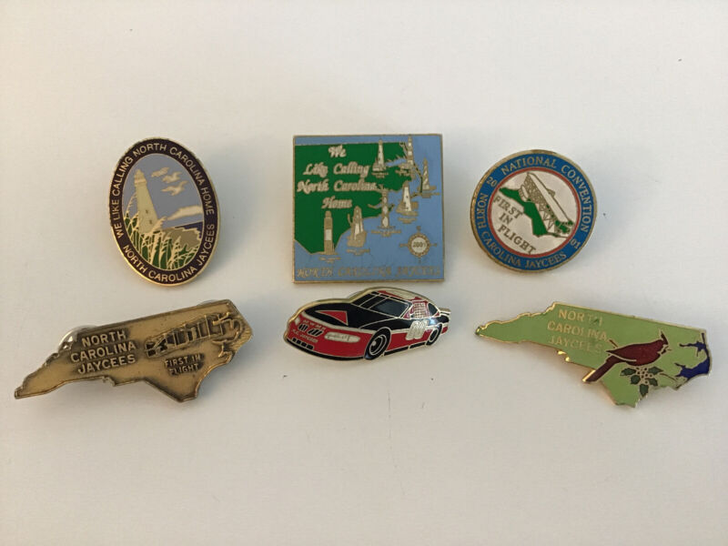 6 NORTH CAROLINA Jaycees Lapel Pins - National Convention 2001 First In Flight