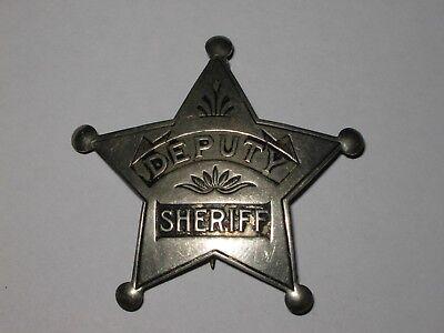 ANTIQUE DEPUTY SHERIFF STAR POLICE BADGE PINBACK OLD WEST HALLMARK SACHS LAWLOR