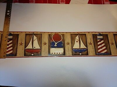 PATRIOTIC SAILBOATS & LIGHTHOUSES PREPASTED WALLPAPER BORDER # PC3933BD