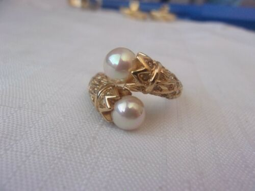 NOLAN MILLER Glamour Collection Gold Tone Pearl & Crystal Ring - Size 9