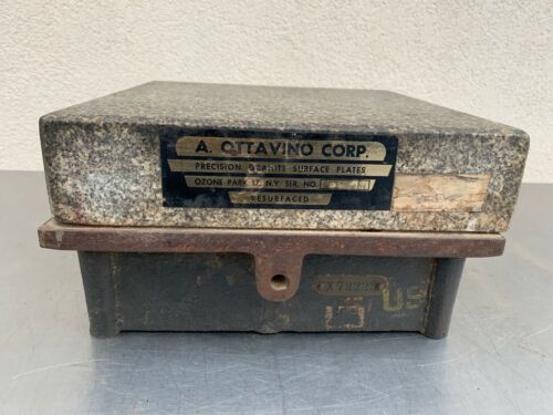 Vintage A.Ottavino Granite Machinist Steel Surface Plate 84 Pounds